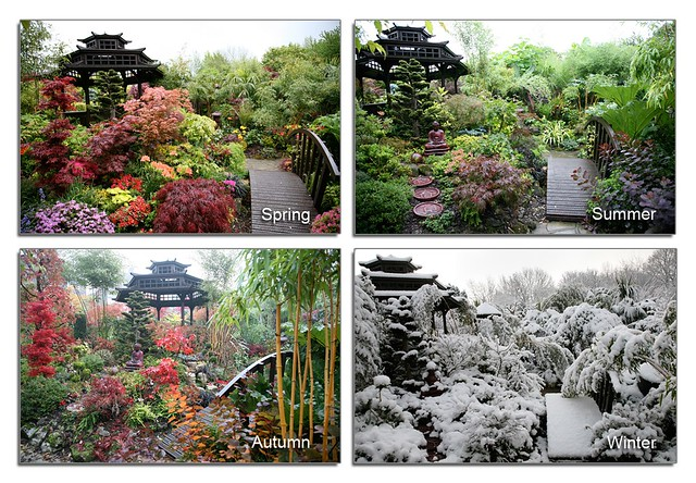 Four seasons garden pagoda view spring summer autumn for Gardening 4 all seasons