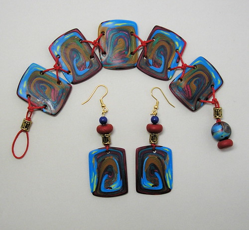 Polymer Clay Tile Bracelet & Earrings