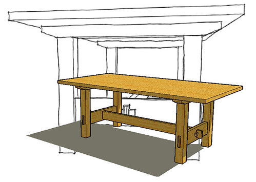 Stickley dining table no 622 2 sketchup animations for Table design sketchup