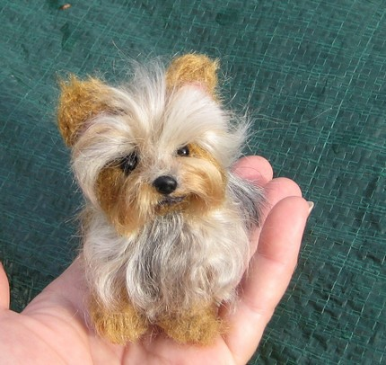 needle felted dog custom pet portrait yorkshire terrier yorkie by
