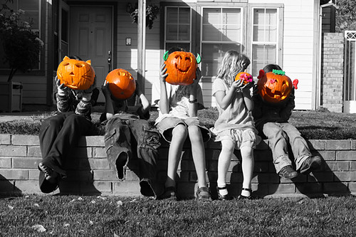The kids and their pumpkins