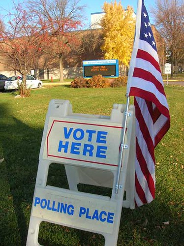 American flag and voting sign