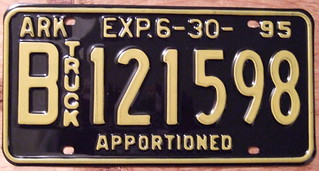 ARKANSAS 1995 APPORTIONED plate
