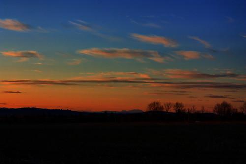 sunset sky cloud mountain tree field maine hdr