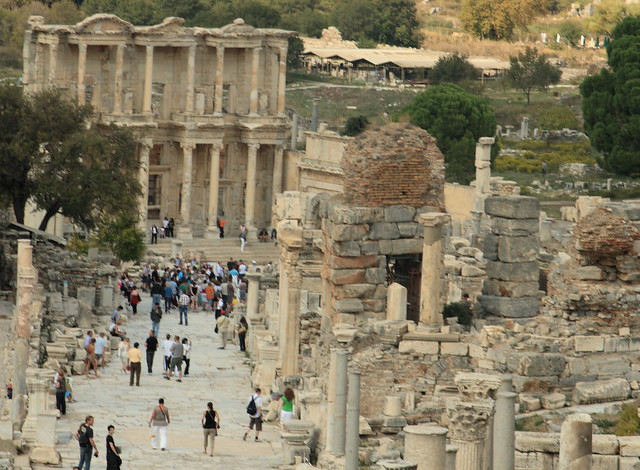 View from the Curetes Way to the famous Library of Celsus ...