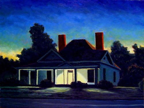 """Farmhouse Study at Night"""