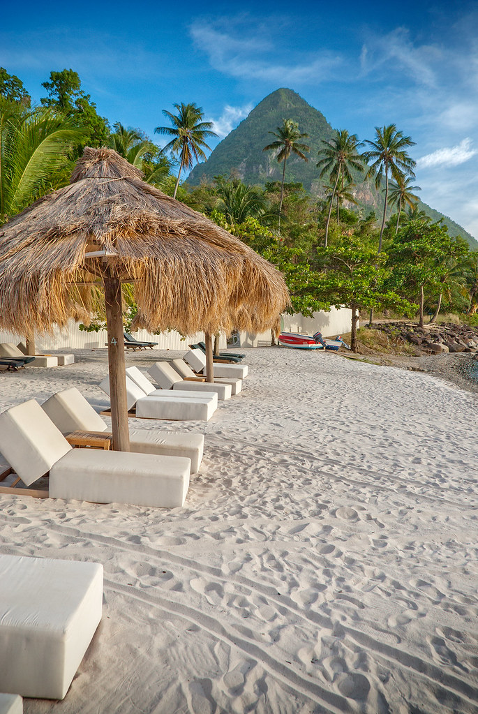 St. Lucia | Jalousie Plantation Resort - Beach View of Gros Piton