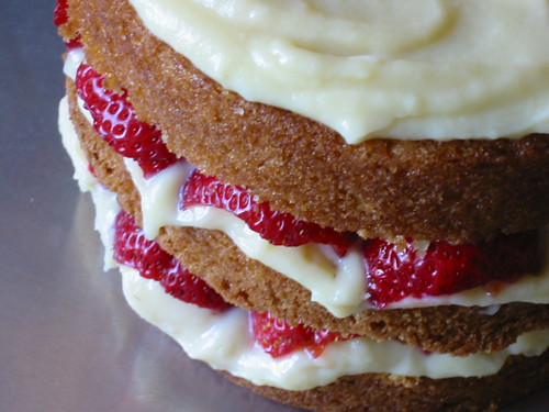 Orange Layer Cake with Strawberries & Amaretto Pastry Cream 3
