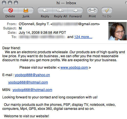 outbound_spam | Spam sent from Sophy's gmail account  | Adam O