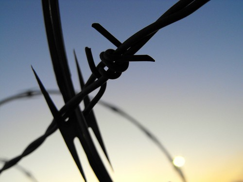 sunset macro colors metal closeup wire pointy bokeh knot sharp barbedwire tied barbed silhoutte razor greeneyephoto