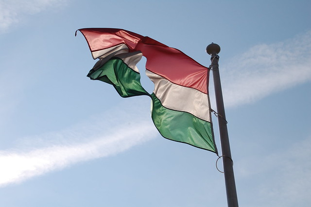 Budapest: The Soviet Symbol was cut out of the Flag during the Revolution
