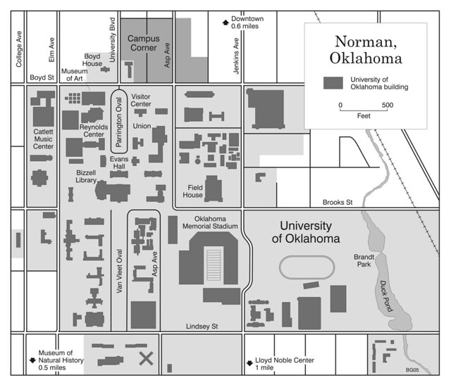 Map Of Norman And University Of Oklahoma Campus From The