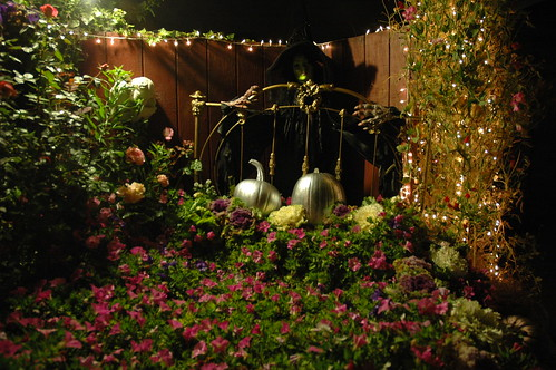 Witch behind the Bed of Flowers with Pumpkins, Mill Rose Inn, Half Moon Bay, California, USA by Wonderlane