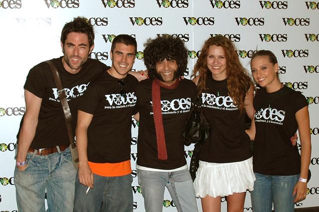 Dani Mateo, Javi, Fede Celada, Elena Ballesteros y Michelle Jenner, VOCES en Rock in Rio - Madrid 2008