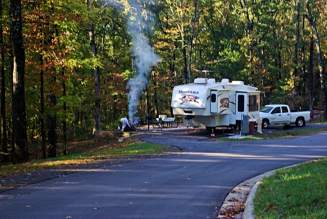 Montana fifth wheel trailer, Lake Fort Smith State Park, Arkansas, October 23, 2008