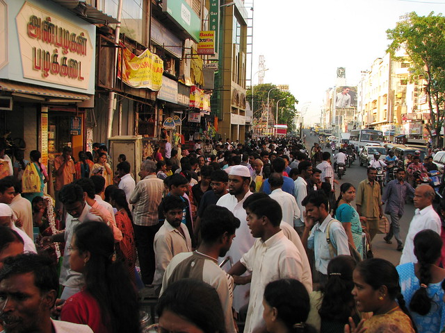 India - Chennai - busy T. Nagar market 1