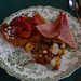 Small photo of Berry stuffed croissant with baked ham