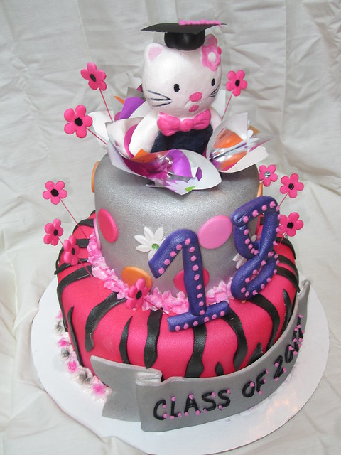 hello kitty graduation cake