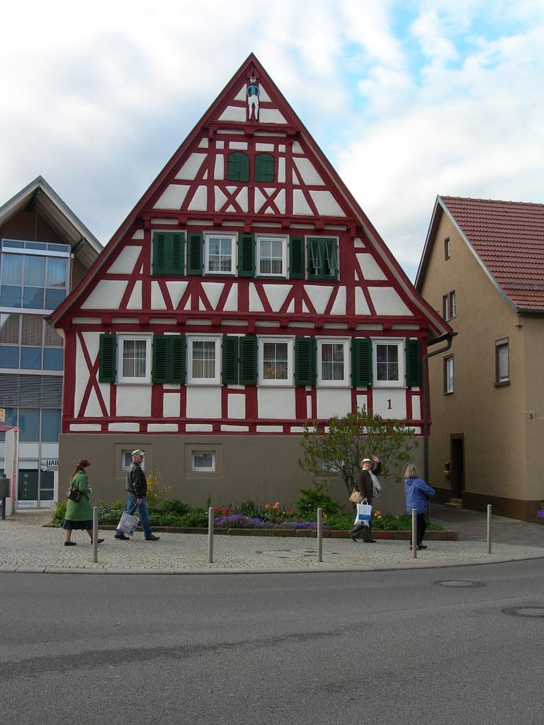 Green-Shuttered Fachwerk Building