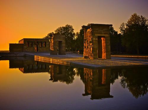 sunset sky tree water arbol atardecer temple reflex agua wasser ciel cielo reflejo ocaso templo debod templodedebod photowalkxfmadrid