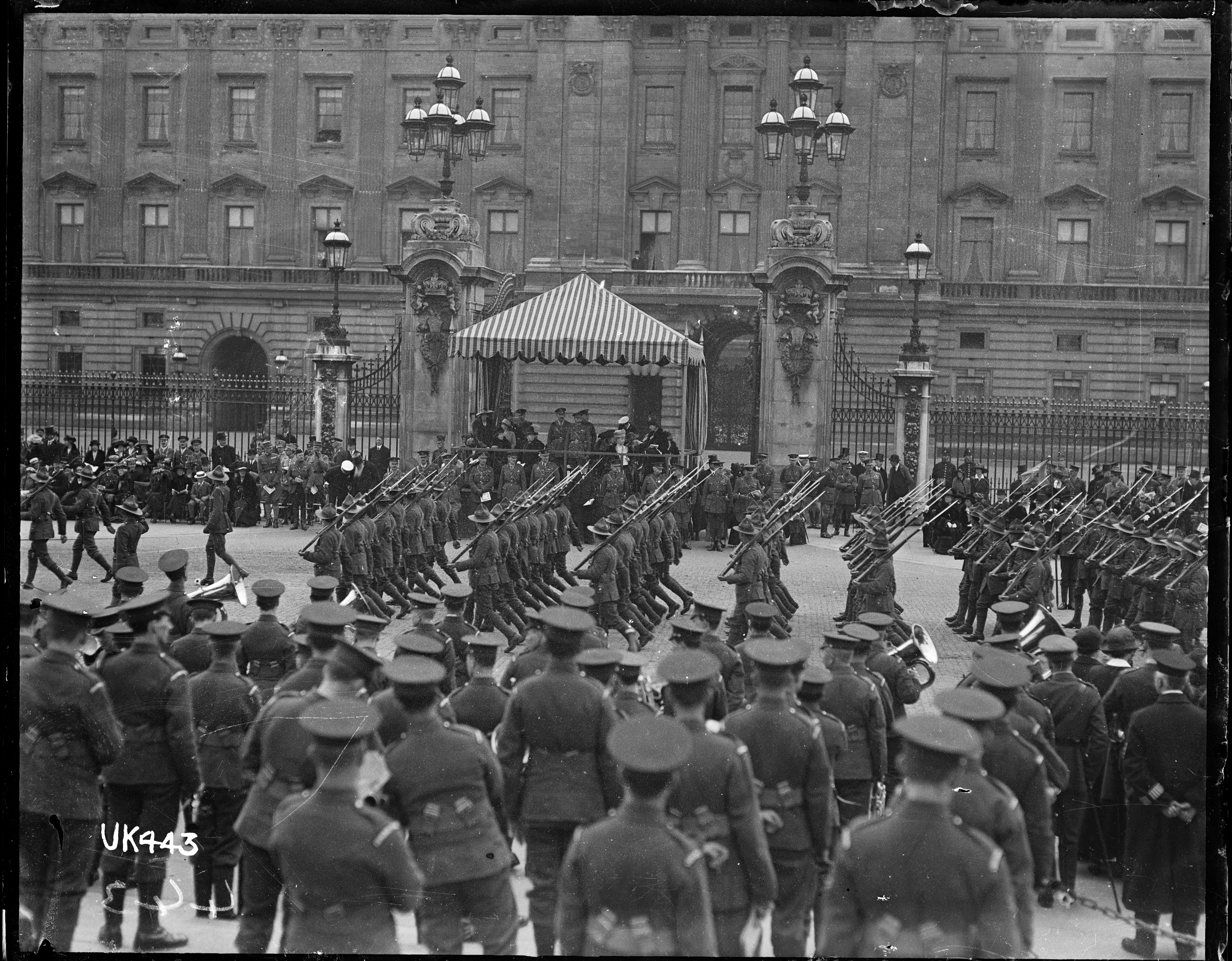 New Zealand Troops March Past Buckingham Palace After