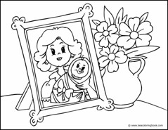 Mother Photo and Flowers - Coloring Page