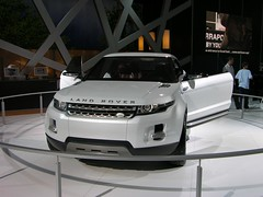 model car(0.0), automobile(1.0), automotive exterior(1.0), exhibition(1.0), range rover(1.0), sport utility vehicle(1.0), wheel(1.0), vehicle(1.0), automotive design(1.0), auto show(1.0), range rover evoque(1.0), grille(1.0), bumper(1.0), concept car(1.0), land vehicle(1.0), motor vehicle(1.0),
