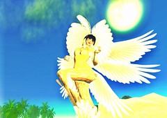 angel(1.0), fairy(1.0), yellow(1.0), wing(1.0), fictional character(1.0), cartoon(1.0), illustration(1.0),