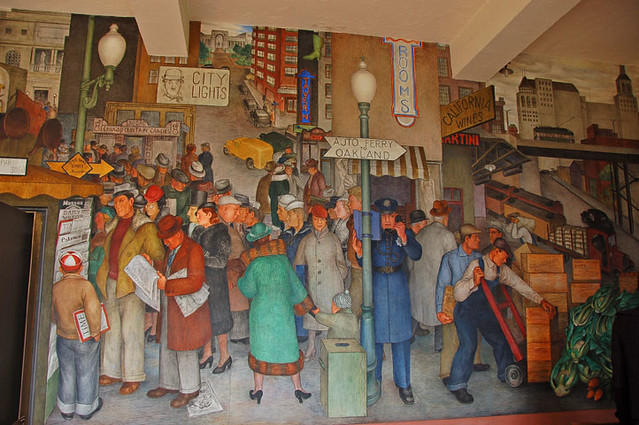 Diego rivera mural inside coit tower downtown sf flickr for Diego rivera mural in san francisco