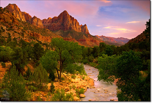 mountains nature river landscape outdoors nikon scenery dusk scenic zion virginriver pinkskies naturesfinest sunsest thewatchman d80 zionnatinalpark nikond80