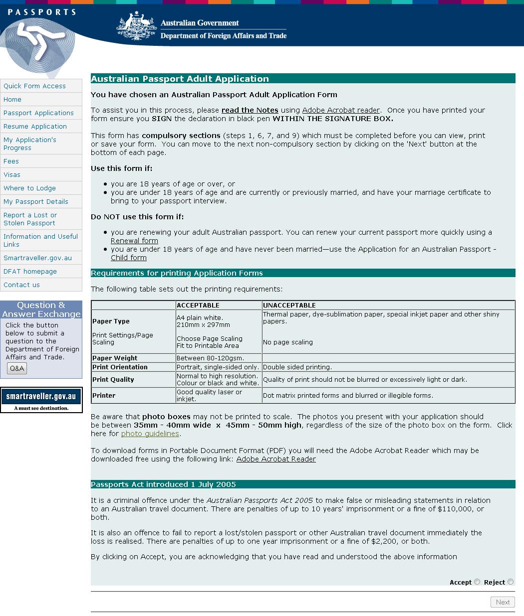 Australian Passport Adult Application Start Page A Photo On Flickriver