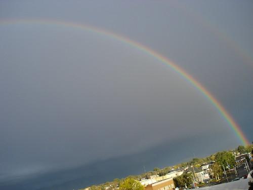 mountains clouds oregon la grande rainbow downtown power view apartment or regenbogen kraft