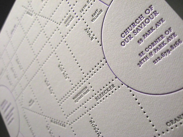 Jina Dots Letterpress Wedding Invitations Directions Close Up