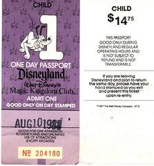 Disneyland Vintage Ticket 1988