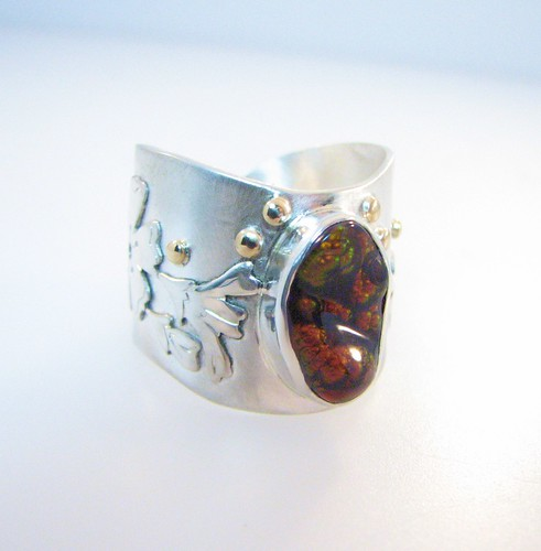 Apple Blossoms Fire Agate and Diamond Ring