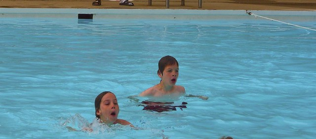 Izzy and Noah in swim classes 2008