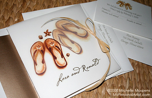Unique Wedding Invitations Flip Flop Beach Theme