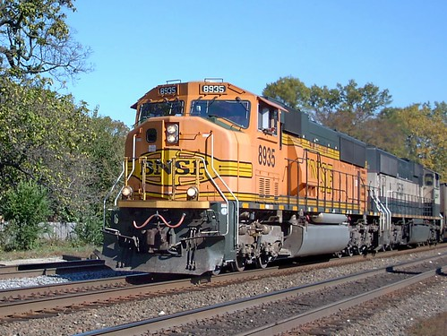 Westbound empty BNSF Railway empty unit coal train. Riverside Illinois. October 2007. by Eddie from Chicago