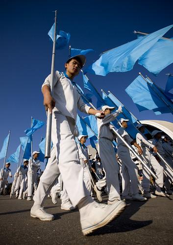 Blue flags after Arirang - North Korea