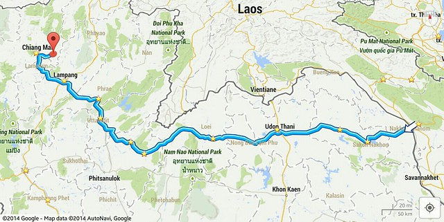 Route from Laos to Mae On