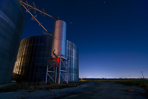 night texas grain silo prosper