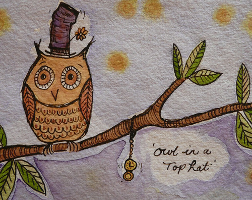 Owl in a top hat detail watercolour painting