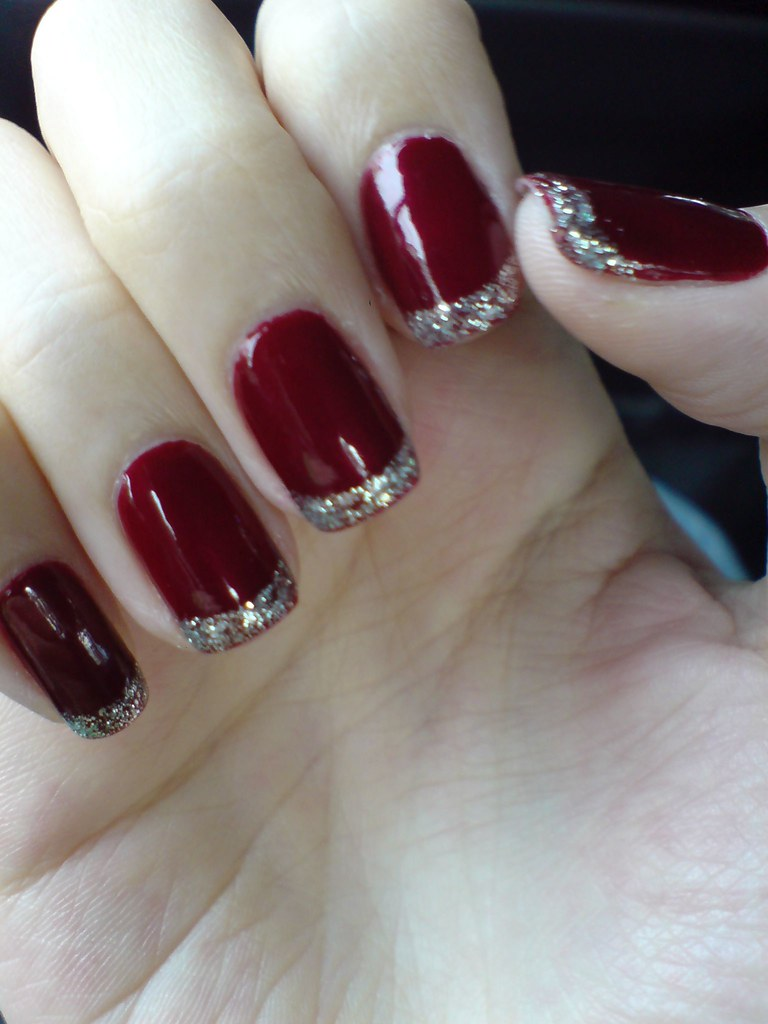 Maroon And Gold French Manicure- HireAbility