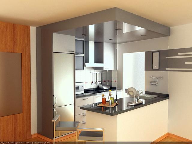 Cocina americana gris claro eir s coru a galicia for Remodelacion de cocinas pequenas