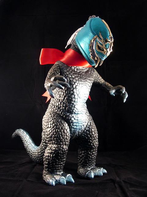 bootleg godzilla with wrestling mask flickr photo sharing