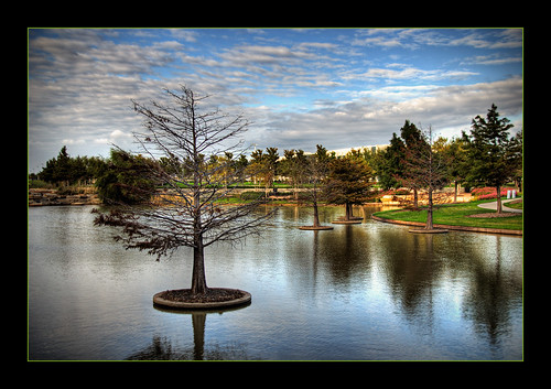 park blue sky lake reflection tree green nature grass clouds landscape hall dallas office interestingness interesting nikon texas tx frame craig dfw jpg d200 jpeg hdr frisco cmaccubbin maccubbin craigmaccubbin