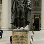 The statue of Albert Gallatin outside the Treasury building in DC