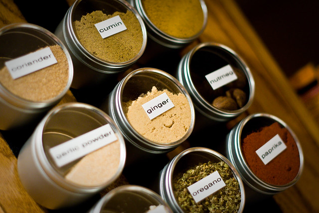 Spice Cabinet: Tins with Spices