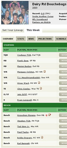 2009 Fantasy Football Team