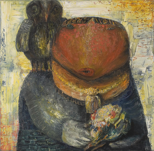 Allen Tager, Woman with Owl, 1988, Germany, 140x140cm, oil on canvas
